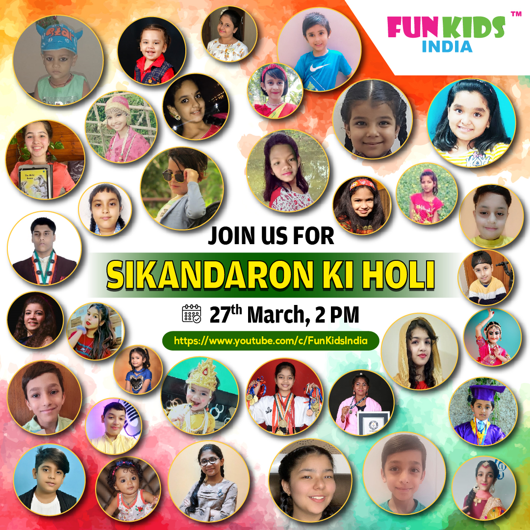Virtual holi event organised by Fun Kids India